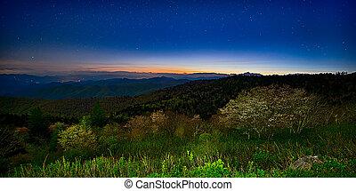 mountains, автострада, закат солнца, аппалачи, хребет, лето, синий