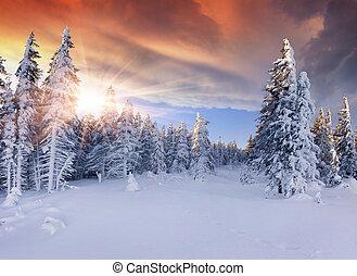 mountains., драматичный, красивая, восход, небо, красный, зима