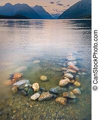 mountains, задний план, озеро, красочный, rocks