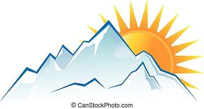 mountains, закат солнца, логотип