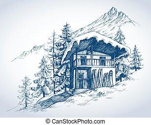 mountains, курорт, хижина, лыжа