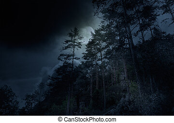 mountains, один, ночь