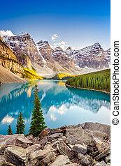 mountains, скалистый, канадский, озеро, морена, пейзаж, посмотреть