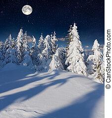 mountains, moon., полный, зима, пейзаж