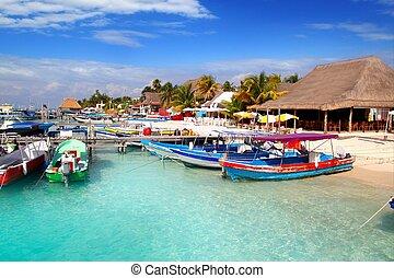 mujeres, красочный, мексика, порт, остров, док, isla, пирс