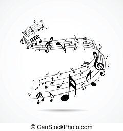 notes, дизайн, музыкальный, isolated