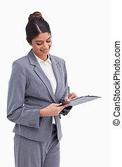 notes, женский пол, предприниматель, улыбается, буфер обмена, принятие