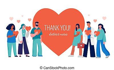 nurses, красный, professionals, спасибо, сердце, вы, -, концепция, группа, задний план, медицинская, doctors, дизайн