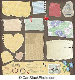 objects, бумага, другой, старый, aged, -, peaces, задавать, марочный