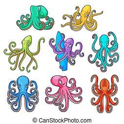 octopuses, красочный, tentacles, мультфильм