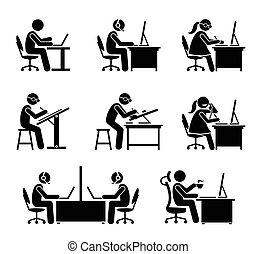 office., наемный рабочий, компьютер, портативный компьютер, за работой