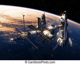 orbiting, челнок, станция, земля, пространство