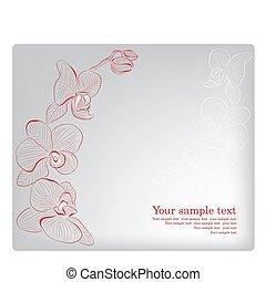 orchid., card., mother's, приветствие, вектор, день