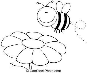 outlined, летающий, над, цветок, пчела