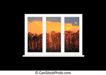 overlooking, современное, isolated, алый, окно, закат солнца