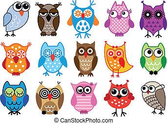 owls, вектор