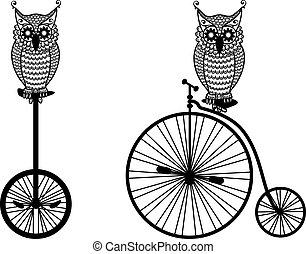 owls, велосипед, вектор, старый