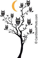 owls, дерево, вектор, сидящий