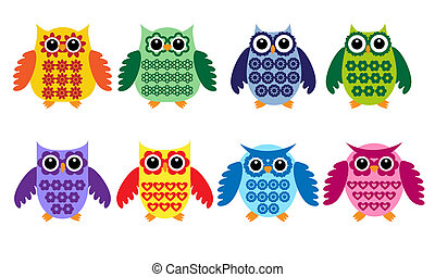 owls, красочный