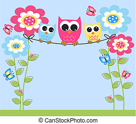 owls, красочный, три
