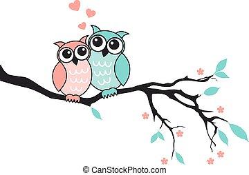 owls, милый, вектор, люблю