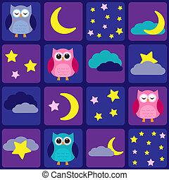 owls, небо, ночь