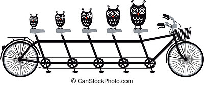 owls, тандем, вектор, велосипед