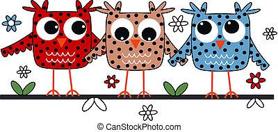 owls, три