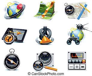 p.1, вектор, навигация, icons., gps