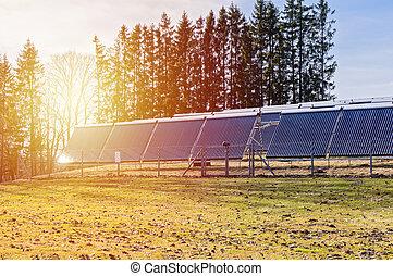 panels, закат солнца, rays, солнечный, поле
