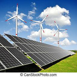 panels, энергия, turbines, солнечный, ветер