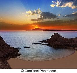 papagayo, пляж, lanzarote, закат солнца, playa