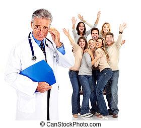 patients., медицинская, врач, счастливый, люди