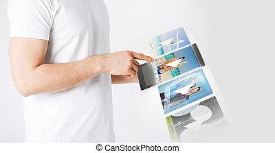 pc, человек, видео, таблетка, наблюдение