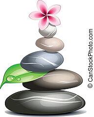 pebbles, над, белый, цветной