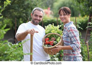 picking, пара, vegetables