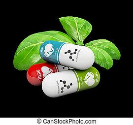 pills, натуральный, витамин, иллюстрация, isolated, черный, лекарственное средство, альтернатива, 3d