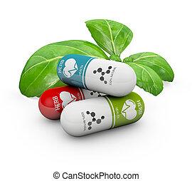 pills, натуральный, витамин, иллюстрация, medicine., альтернатива, 3d