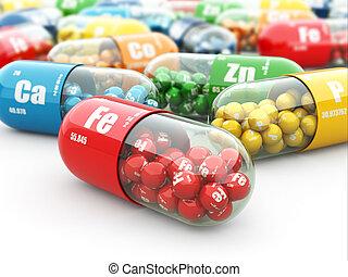 pills., capsules., разнообразие, supplements., витамин, диетический