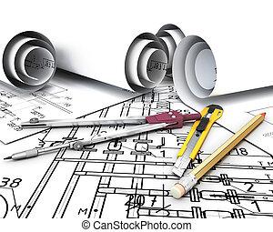 plans., инжиниринг, инструменты, рисование