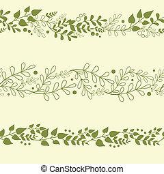 plants, задавать, backgrounds, три, бесшовный, patterns, зеленый, горизонтальный