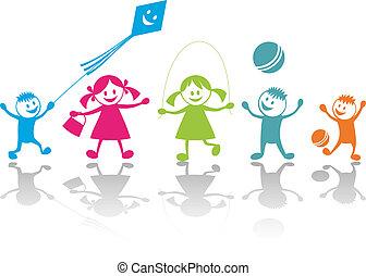 playing, счастливый, children