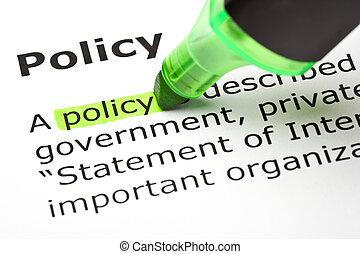 'policy', выделенный, зеленый