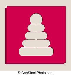 popart-style, пирамида, illustration., grayscale, знак, версия, vector., icon.