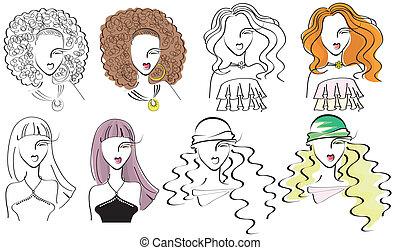 portraits, мода, .vector, молодой, женщины