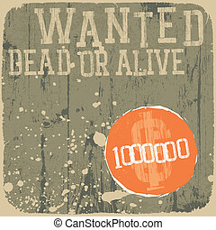 poster., alive., мертвый, wanted!, ретро, styled, или
