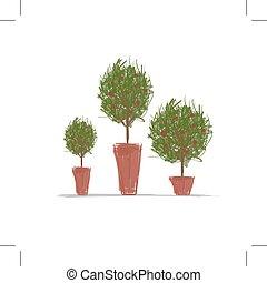 pots, дизайн, дерево, зеленый, ваш