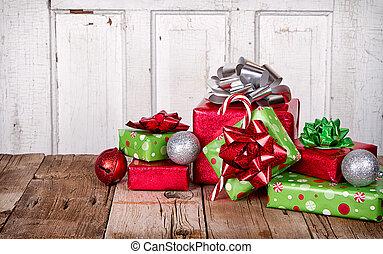 presents, деревянный, рождество, задний план