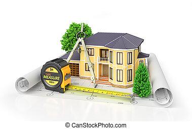 project., жилой, корпус, иллюстрация, архитектор, дом, инструменты, blueprints., 3d