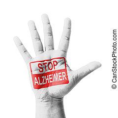 raised, окрашенный, стоп, знак, альцгеймер, рука, открытый